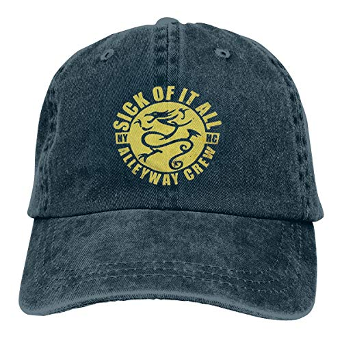 Sick Of It All Dragon - MIZS VIEASEG Sick of It All Dragon Fashion Cool Soft Baseball Cap Funny Travel Cowboy Hat Navy
