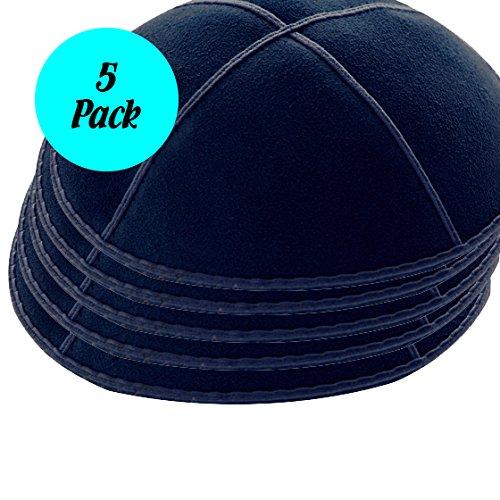 (5-pack Navy Blue Suede Leather Four Panel Kippah Yarmulkah Yarmulke)