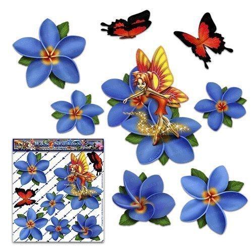 Fantasía de hadas frangipani flor azul plumeria + mariposa pegatinas de coche animal - ST00062BL_SML - JAS Stickers