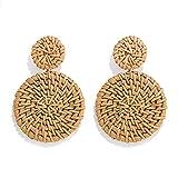 Rattan Earrings for Women Handmade Straw Wicker Braid Drop Dangle Earrings Lightweight Geometric Statement Earrings (round-B-brown)