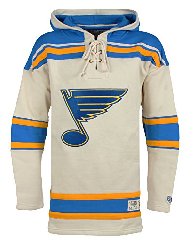 [NHL St. Louis Blues Men's Vintage Lacer Heavyweight Hoodie, Large, Stone] (Blue Vintage Hoody)