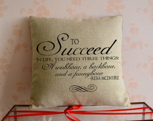 OneMtoss Personalized Decorative Inspirational Quotes 100% Cotton Blend Linen Throw Pillow Cases About Life - 24 x 24 -