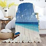 Ylljy00 Seaside,Throw Blankets,Flannel Plush Velvety Super Soft Cozy Warm with/Tropical Beach Chair S