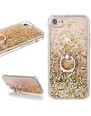 Glitter Hoes voor iPhone 6/6S, LCHDA Blinkend Vloeibaar Drijfzand Glanzend Vloeiende Pailletten Helder Kristal Hard Plastic Slank Lichtgewicht Beschermend Hoesje met Ringstandaard - Goud