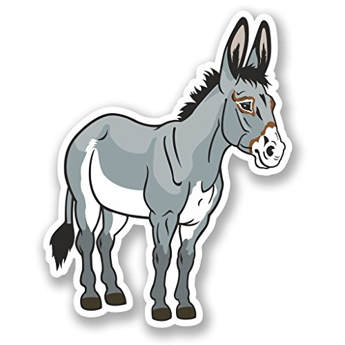 Donkey Coat - 2 x 10cm- 100mm Donkey Vinyl SELF ADHESIVE STICKER Decal Laptop Travel Luggage Car iPad Sign Fun #4566