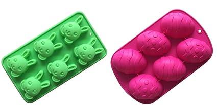 Amazoncom 2 Rabbit Egg Shaped Silicone Molds Easter Bunny Soap