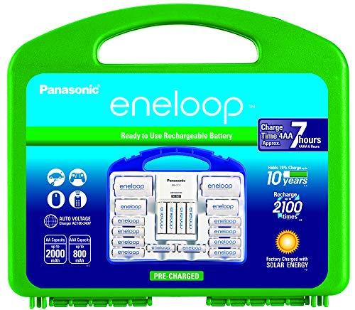 Eneloop Panasonic Advanced Cargador para baterías con celdas individuales, incluye baterías AA, recargables hasta 2100...