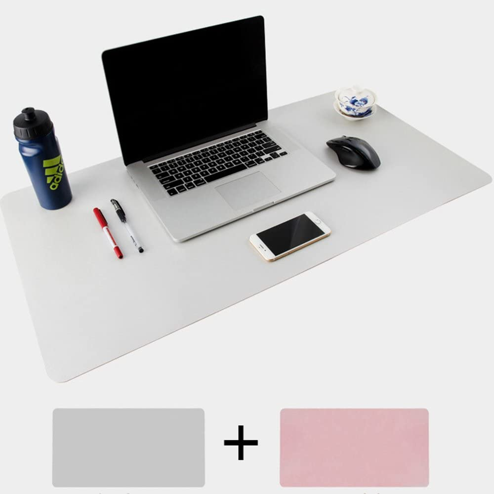 Darkblue//Yellow, 80x40cm Multifunctional Waterproof Office Desk Writing Mat ele ELEOPTION PU Leather Extended Mouse Pad Double Side Ultra-Thin Large Pad for Office Home