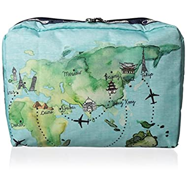 LeSportsac Extra Large Rectangular Cosmetic Case, Globe Trotter, One Size