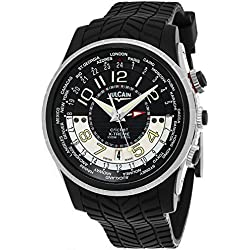 Vulcain Cricket X-TREME Mens Manual Wind World Time Black Face Alarm Date Black Rubber Strap Swiss Watch 161925.165RF