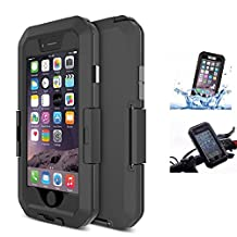 "iPhone 6 Plus / 6S Plus Waterproof Case, Fixinus Shock-Protected Bike Mount Holder, Bicycle Shockproof Full-body Rugged Case Cover Perfectly Fit for iPhone 6 Plus & 6S Plus (5.5"")-Black"