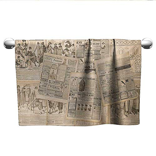 Antique,Wash Towels Newspaper Pages with Advertising and Fashion Magazine Woman Edwardian Publicity Image Bath Towels for Kids Cream W 28