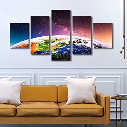 (Large Modern Galaxy Wall Art 5 Piece Colorful Earth Canvas Print Starry Sky Artwork Framed Still Life Pictures Ready to Hang for Living Room Bedroom Home Decoration 32x60inch)