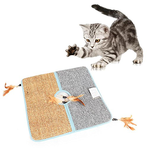 Aolvo Cat Scratcher, Double Sided Natural Tanzania Sisal Cat Scratching Mat Pad Cardboard, Soft and Unbroken, Interactive Cat Scratch Mat Scratcher Replacement with 2 Cat Feather Teaser Toy For Sale