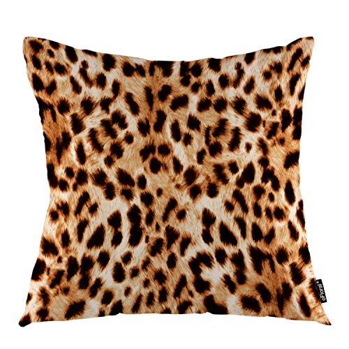 """oFloral Leopard Spot Throw Pillow Cover Spotted Skin Cheetah Animal Decorative Square Pillow Case 18""""X18"""" Pillowcase Home Decor for Sofa Bedroom"""