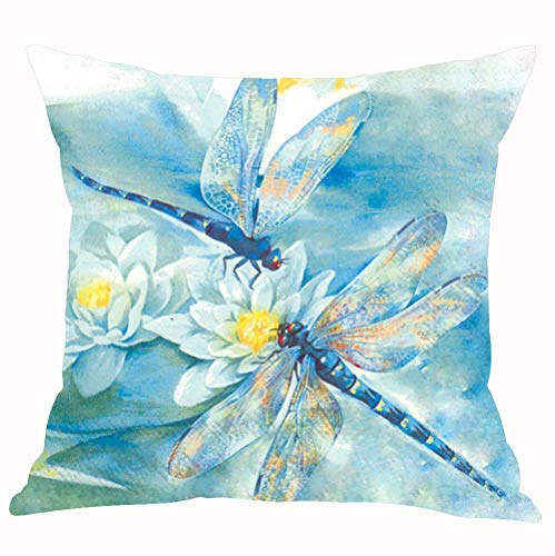 Dragonfly Throw Pillow - ASTIHN Blue Watercolor Two Dragonflies White Lotus Cotton Linen Throw Pillow Cover Cushion Case Home Chair Office Decorative Square 18 X 18 inches