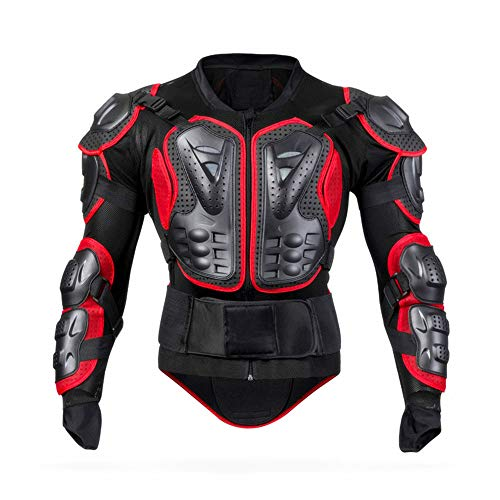 WJH Riding Full Body Armor, Strengthening The Protection Against Impact Clothing - Suitable for Cycling, Cross-Country, Skiing, Skating, Roller Skating and Other Extreme Sports,Red,M (Skating Skiing Country Cross)