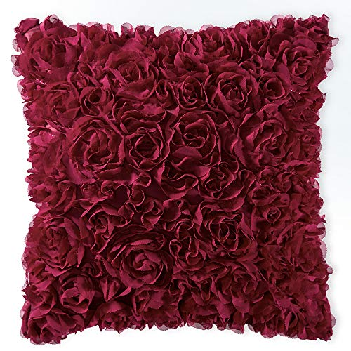 MIULEE 3D Decorative Romantic Stereo Chiffon Rose Flower Pillow Cover Solid Square Pillowcase for Sofa Bedroom Car 18x18 Inch 45x45 cm Wine Red