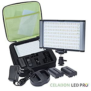 Radiant PRO 160-LED SMD CRI 95+ Bi-Color Dimmable Rechargeable Camcorder Video Light and On-Camera Light Kit