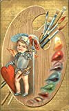 Painting the heart of Love Hearts Original Vintage Postcard Picture