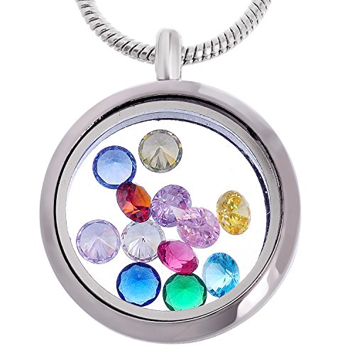 (RUBYCA Living Memory Glass Locket Necklace 12 Round Crystal Birthstones Floating Charms Silver Tone)