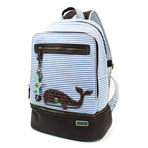 Chala Backpack Style Purse Striped Whale Purse w detachable Key Chain Fob Charm ()