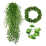 Ivyue 84ft Ivy Garland Artificial Ivy Leaf - Ivy Leaves Greenery Fake Garland Plants Ivy Chain Garland Silk Vine Hanging for Wedding Party Garden Wall Office Home Kitchen Indoor Outdoor Decoration 12P
