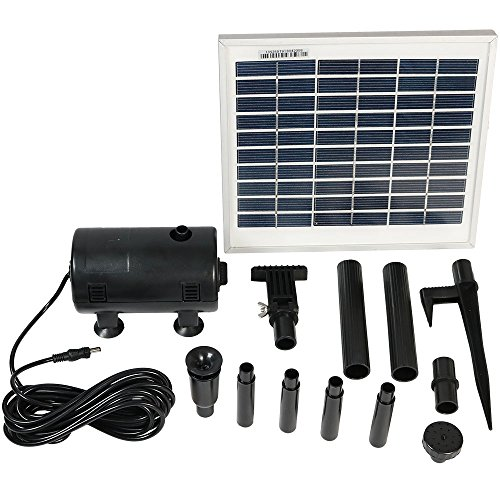 Solar Pump and Solar Panel Kit With 2 Spray Heads, 132 GPH, 56-Inch Lift by Sunnydaze Decor