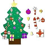 YuQi 3FT DIY Felt Christmas Tree Set with 30Pcs Glitter Detachable Ornaments Year Xmas Gifts Kit for Kids Door Wall Hanging Decor