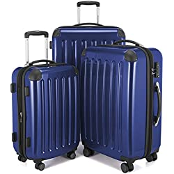 """HAUPTSTADTKOFFER Luggages Sets Glossy Suitcase Sets Hardside Spinner Trolley Expandable (20"""", 24"""" & 28"""") TSA DarkBlue"""