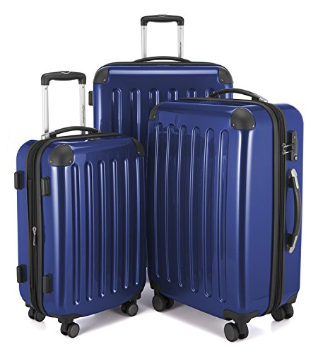 "HAUPTSTADTKOFFER Luggages Sets Glossy Suitcase Sets Hardside Spinner Trolley Expandable (20"", 24"" & 28"") TSA DarkBlue by Hauptstadtkoffer"