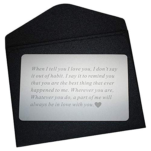 Vanfeis Metal Engraved Mini Love Note Wallet Insert Card - Birthday Gifts for Men, Him - Wedding Anniversary Gifts for Husband, Boyfriend - Unique Engagement Present, Deployment Gift for Women, Her