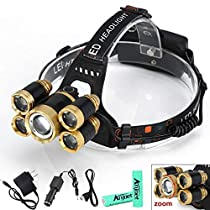Anjoet 12000 Lumens LED HeadlampRechargeable CREE 5LED XML T6 Headlight Indoor & Outdoor Lighting(Battery+Charger Including)