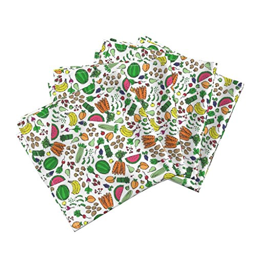 Food Fruit Vegetables Market Kitchen Cooking Organic Sateen Dinner Napkins Market Fresh Fruits & Veggies by Robyriker Set of 4 Dinner Napkins