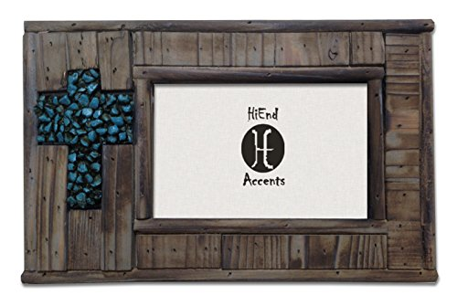 HiEnd Accents Western Wood Frame with Turquoise Rock Cross, 4 x 6 Review