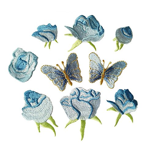 - 9pcs Blue Small Rose flower butterfly embroidery Iron On Patches(different dize)