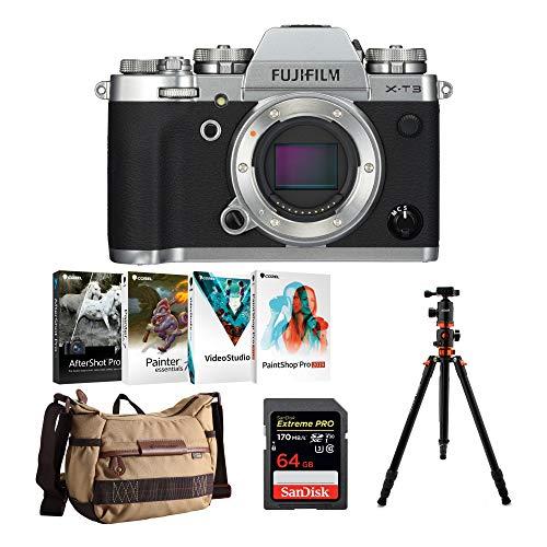 Fujifilm X-T3 Mirrorless Digital Camera Body (Silver) w/Koah PRO Ball Head Tripod & Accessory Bundle