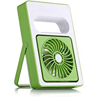 LOHOME® Mini Mute Fan, Adjustable Outdoor Protable Hand-hold USB Rechargeable Creative Student Desk Small Fan (Green)