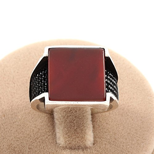 Mens Agate (Mens Silver Ring Size 11 with Square Cut Red Agate Stone Turkish Handmade in 925 Sterling)
