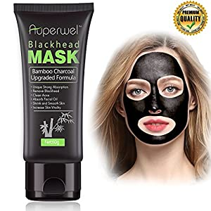 Auperwel Black Mask, Blackhead Remover Mask, Activated Charcoal Face Mask Peel Off Mask Deep Cleaning Facial Mask Nose Mud Mask Pore Cleaner for Acne Blemishes Whitehead 60g