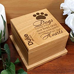 GiftsForYouNow Wooden Engraved Pet Memorial Urn