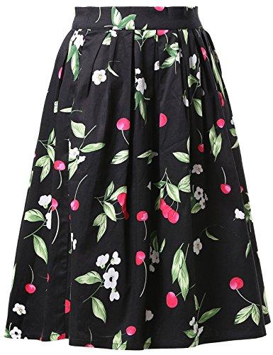 GRACE KARIN Jupe Plisse Femme Rtro Jupe Imprime Fleurs Vintage Cl6294-5#