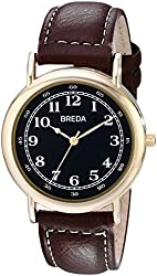 Breda Men's 1682D Gold-Tone Watch with Brown Genuine Leather Band