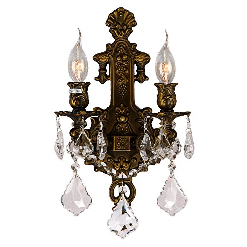 Worldwide Lighting W23315B12 Versailles 2 Light Crystal Wall Sconce, Antique Bronze Finish and Clear Crystal, Medium Fixture, 12