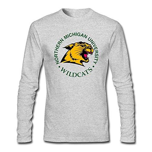 (Man Northern Michigan University Screw Neck Long Sleeve T Shirts)