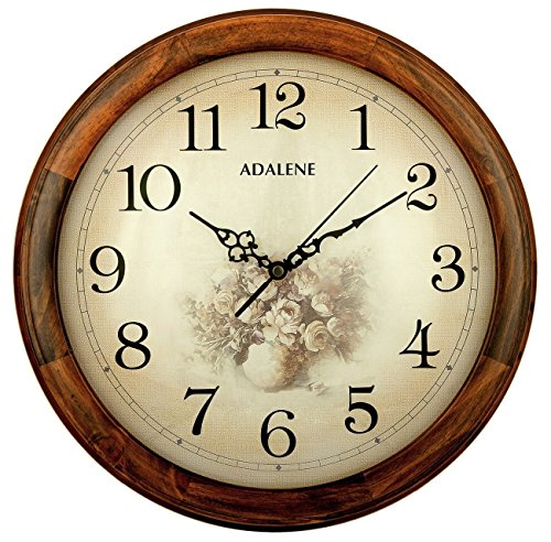 inch wall clock large decorative living room quiet battery operated quartz analog wood round sepia flower dial fancy clocks amazon with arabic numbers giant con