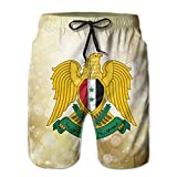 Qinf New Cartoon Fashion Coat Of Arms Of Syria Summer Beach Pants Casual Shorts For Man