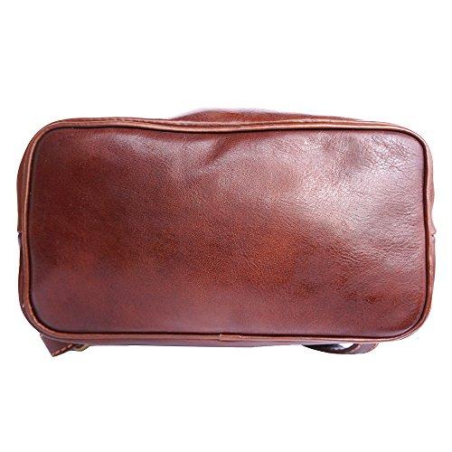 Zaino Unisex pratico in vera pelle lucida 6560 Borse in pelle marrone