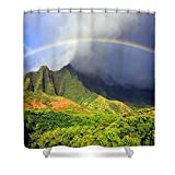Pixels Shower Curtain (74'' x 71'') ''Kalalau Valley Rainbow''