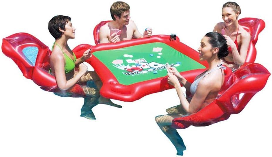 presentimer Mesa de Asiento Inflable para 4 Personas flotando en la Piscina de Agua Agua Reutilizable Juego de cojinetes de Alta Carga Sillas de Mesa Juguetes